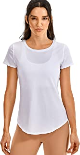 CRZ YOGA Women's Pima Cotton Short Sleeve Workout Shirt Yoga T-Shirt Athletic Tee Top