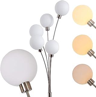 Lampadaire vintage Bernardo livré avec 5 ampoules halogènes G9 de 28 watt chacune – Finition argentée mat - Luminaire de s...