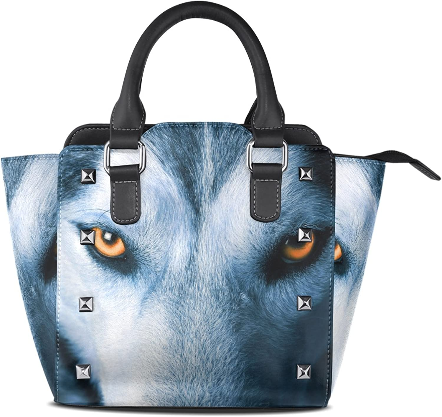 Sunlome Cool Wolf Print Women's Leather Tote Shoulder Bags Handbags