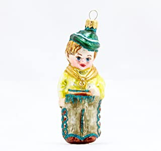 P.W. Wiktoria Cowboy Christmas Ornament Glass Blown Hand Made and Painted in Poland