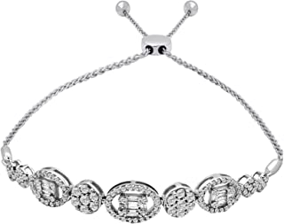 14K Gold Diamond Real Diamond Cluster Bolo Bracelet (1.28 Ctw, J-Color, I2-Clarity)