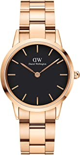 Daniel Wellington DW00100212 Stainless Steel Black-Dial Round Analog Watch for Women - Gold
