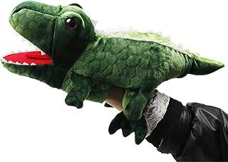 دمى محشوة بالديناصورات اليدوية للأطفال، دمى حيوانات تي-ريإكس مع فم متحرك، ألعاب قطيفة لتدريس ما قبل المدرسة من 3 سنوات فما...