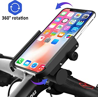 Venoro Bike Phone Mount with Charger [Detachable], Aluminum Alloy Bicycle Phone Holder Waterproof 360°Rotation Adjustable for iPhone 11 Xs Max XR 8, Samsung Galaxy A10E S10 S9 Plus S8 S7 Edge (Black)