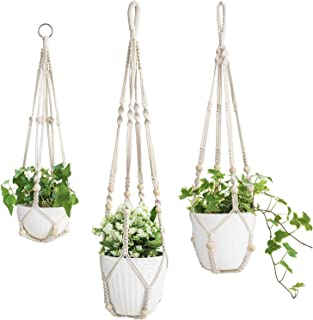 "Mkono 3 Pack Macrame Plant Hangers Indoor Hanging Planter Basket Flower Pot Holder Cotton Rope with Beads No Tassels, 23""/29""/35"""