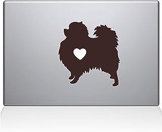 "The Decal Guru Pomeranian Love Silhouette Decal Vinyl Sticker, 13"" MacBook Air, Brown (2336-MAC-13A-BRO)"