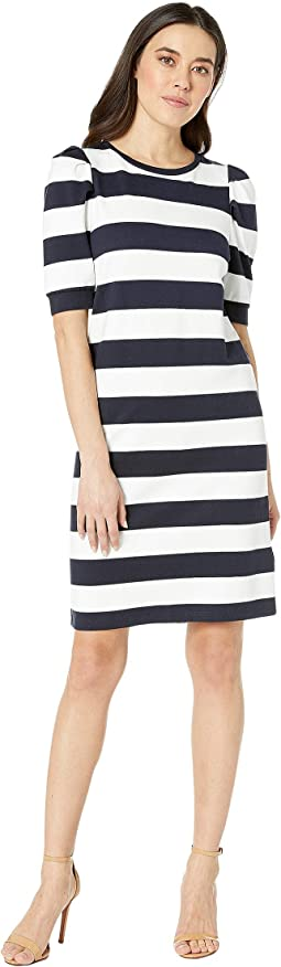 Petite Striped Puff-Sleeve Ponte Dress