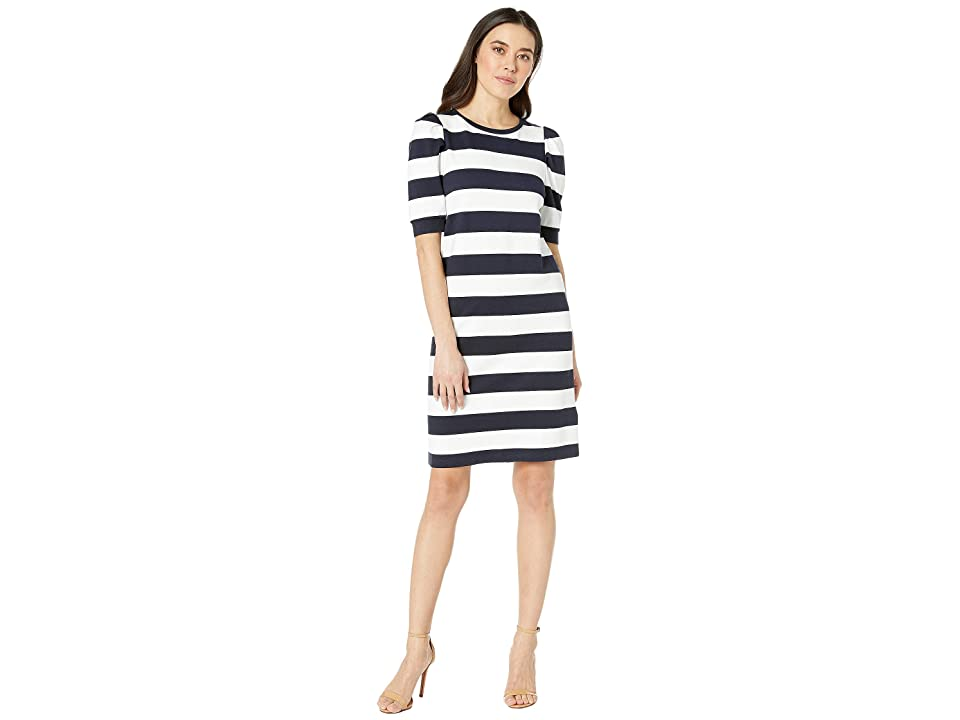 LAUREN Ralph Lauren Petite Striped Puff-Sleeve Ponte Dress (Lauren Navy/Silk White) Women