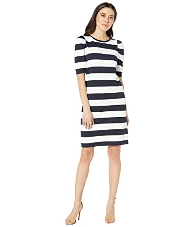 LAUREN Ralph Lauren Petite Striped Puff-Sleeve Ponte Dress (Lauren Navy/Silk White) Women