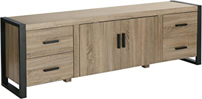 """Walker Edison Industrial Modern Wood Universal Stand with Cabinet Doors for TV's up to 80"""" Living Room Storage Shelves Entertainment Center, 70 Inch, Grey,Brown"""