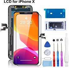 YPLANG for iPhone X Screen Replacement, LCD Display 5.8 inch with 3D Touch Digitizer Frame Assembly with Magnetic Screws Map, Complete Repair Tools and Screen Protector