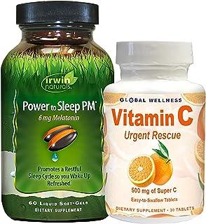 IRWIN NATURALS Power to Sleep PM® 6mg Melatonin 60ct + Vitamin C 30ct Bonus Pack