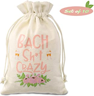 CiyvoLyeen Hangovers Recovery Kit Bags (5*8inches), Bachelorette Party Supplies, Bach Crazy Sign Boho Floral Design Cotton Drawstring Bags, Wedding Party Welcome Decoration, Set of 10