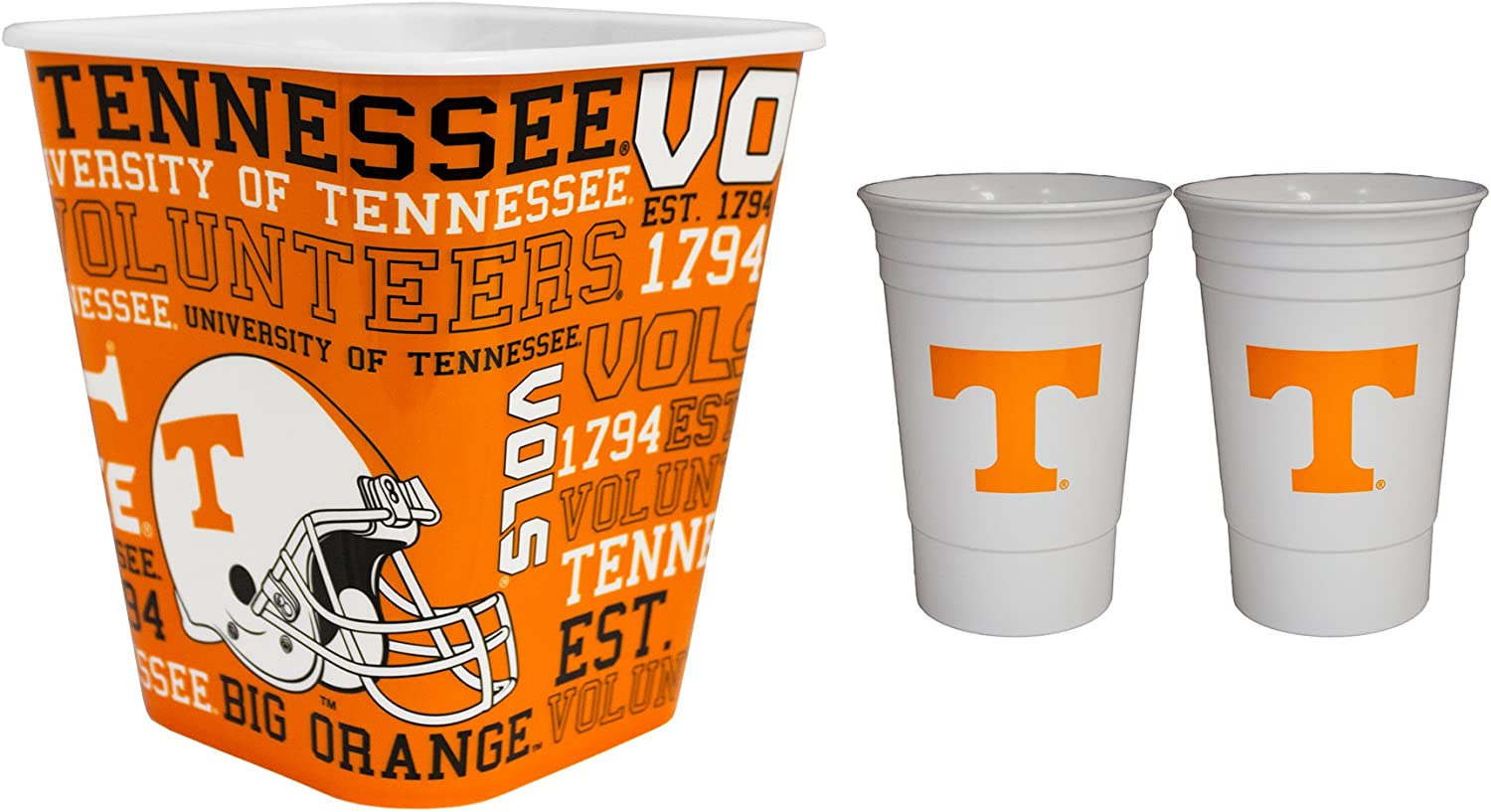 NCAA 2pk Party Cup and 3 Liter Reusable Plastic Snack Bucket Set