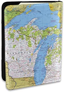 National Geographic Wisconsin Michigan And The Great Lakes Map Personalized Leather Passport Cover - Travel Gifts