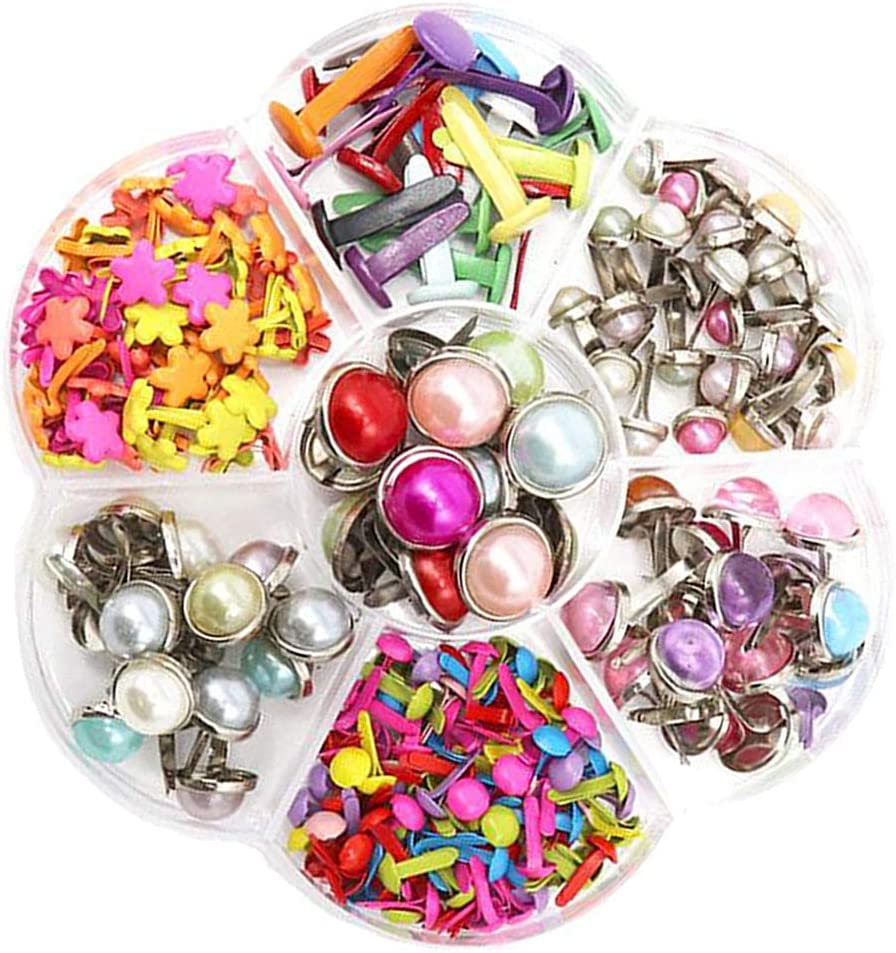A MonkeyJack Assorted Bright Color Mini Brads Paper Fasteners Round Crystal Flowers Pastel Metal Brads for Scrapbooking Crafts DIY Paper with Plastic Box