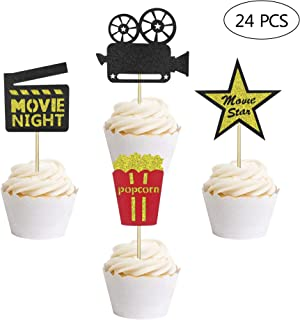 24 PCS Hollywood Movie Theater Themed Cupcake Toppers Movie Night Party Clear Treat Picks