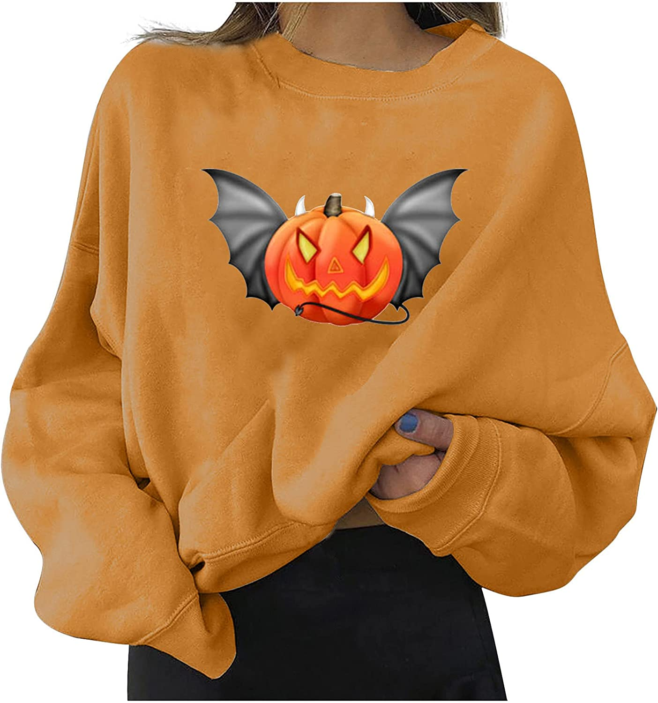 All-Match Women's Blouse Cute Halloween Modern Women's Relaxed Long Sleeve Printed Women's Sweatshirts Tops Color313