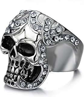 Mens Vintage Black Gothic Skull Rings 316L Stainless Steel Heavy Metal Rock Punk Biker Bands High Polished Size 8-12