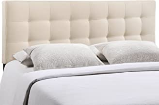 Modway Lily Tufted Linen Fabric Upholstered Queen Headboard in Ivory