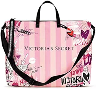 Pink Duffle Bag Weekender Tote Graffiti Logo 17x14 Large Size