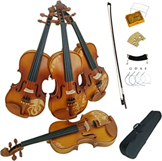 Aliyes Solid Wood Violins Full Size 4/4 Violin Kit For Beginners With Case,Shoulder Rest,Bow,Rosin,Extra Bridge And Strings(DH-004)