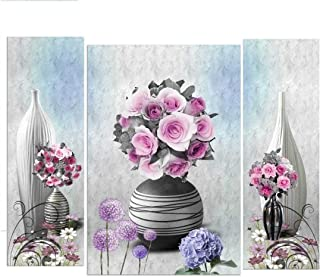 SND UV Textured Beautiful Flower Set of 3 Modern Art Print MDF Frame Wall Painting for Living Room Wall for Home Decoratio...