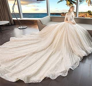 Wedding Dress Evening Dress One Shoulder A Line Lace Jewel Women Chapel Long Tail Skirt Party Lady XL