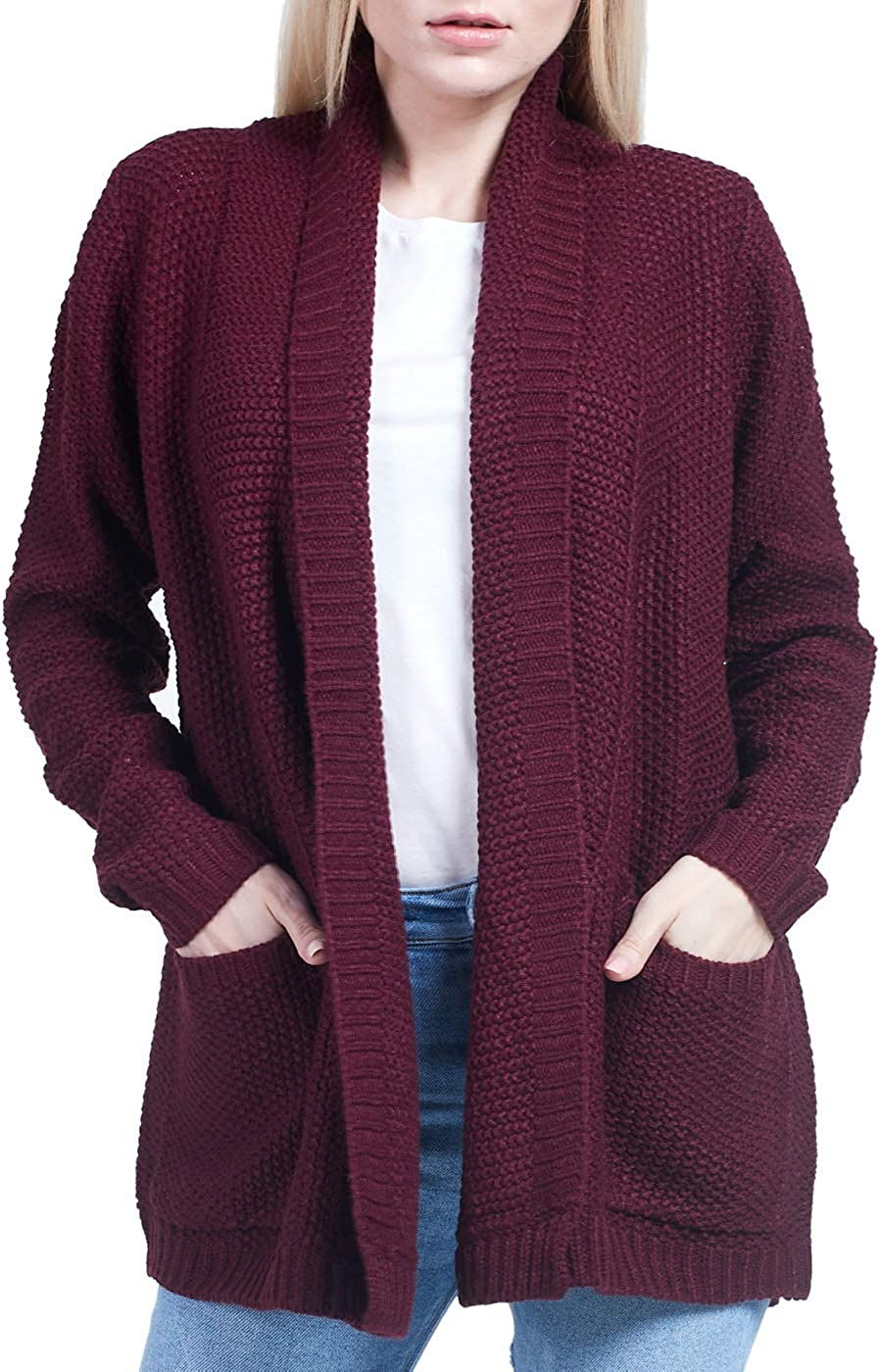 Aulavik Women's Solid Rib-Knit Open Front Cardigan