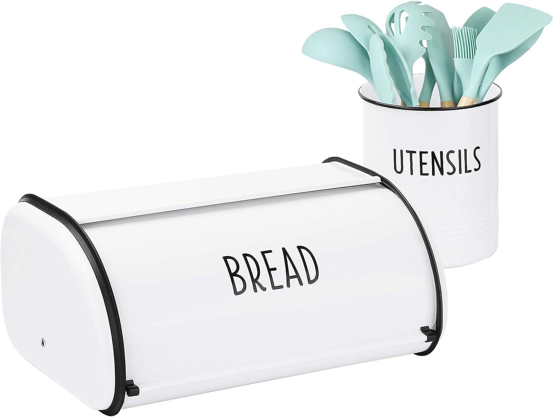 Outshine White Vintage Roll Top Bread Box & Kitchen Utensil Holder Set | Large Bread Box Keeps Bread Fresh | Farmhouse Bread Box & Utensil Holder for Countertop | Kitchen Decor | Housewarming Gift