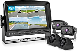 $299 » Fookoo Ⅱ HD Wired Backup Camera System, 7'' Split Screen Monitor IP69 Waterproof Rear View Side View Cameras with Recordin...