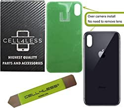 CELL4LESS Back Glass Replacement Compatible w/The iPhone X Including Wide Camera Hole, Adhesive & Removal Tool (Gray)