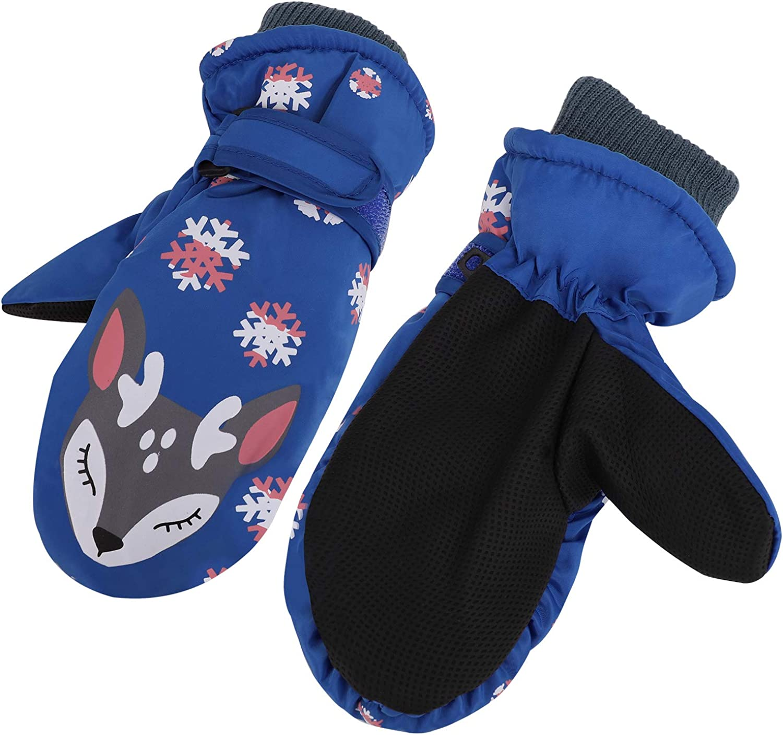 Kids Boys Girls Ski Gloves Warm Waterproof Snow Cycling Riding Toddlers Mittens