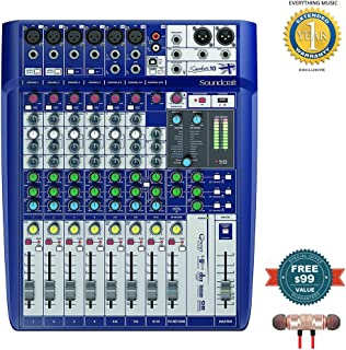 Soundcraft Signature 10 Analog 10-Channel Mixer includes Free Wireless Earbuds - Stereo Bluetooth In-ear and 1 Year Everything Music Extended Warranty