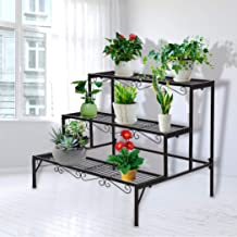 Levede Plant Stand 3 Tier Rectangle Metal Flower Pot Planter Corner Shelf Black