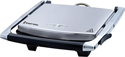 Russell Hobbs RHSP801, Sandwich Press, Non-Stick Flat Plates, Lid Lock, Floating Hinge for Varied Thickness, Silver