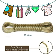Glass Pro+ 20 Meter PVC Coated Steel Anti-Rust Wire Rope Washing Line Clothesline with 2 Plastic Hooks - 1 Piece for for Drying/Hanging Clothes