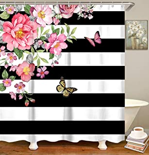 LIVILAN Pink Flower Shower Curtain, Striped Fabric Bath Curtain, Decorative Floral Bathroom Curtain Set with Hooks, Black and White Stripes Modern Machine Washable 72x72 Inches