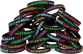 SayitBands 50 I Am Strong Brave Loved Enough Wristband Bracelets