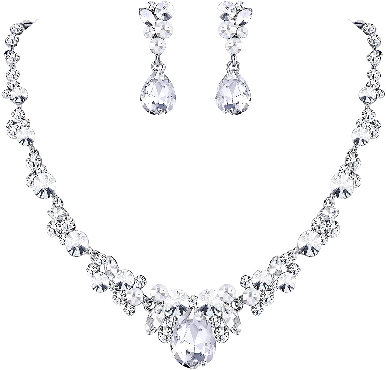 EVER FAITH Rhinestone Crystal Elegant Bridal Floral Teardrop Necklace Earrings Set