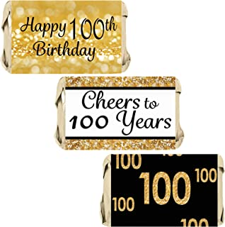 DISTINCTIVS Black and Gold 100th Birthday Party Mini Candy Bar Wrappers - 45 Stickers