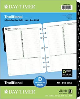 Day-Timer Refill 2018, One Page Per Day, January 2018 - December 2018, 8-1/2