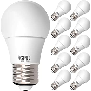 Sunco Lighting 10 Pack A15 LED Bulb, 8W=60W, 5000K Daylight, Dimmable, 800 LM, E26 Base, Refrigerator & Fan Light - UL, Energy Star