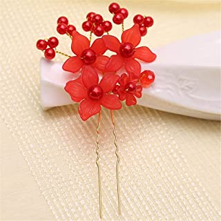 LUKEEXIN Bun Bride Headwear Bead Flower Hairpin Wedding Hair Accessories 15pcs (Color : Red)