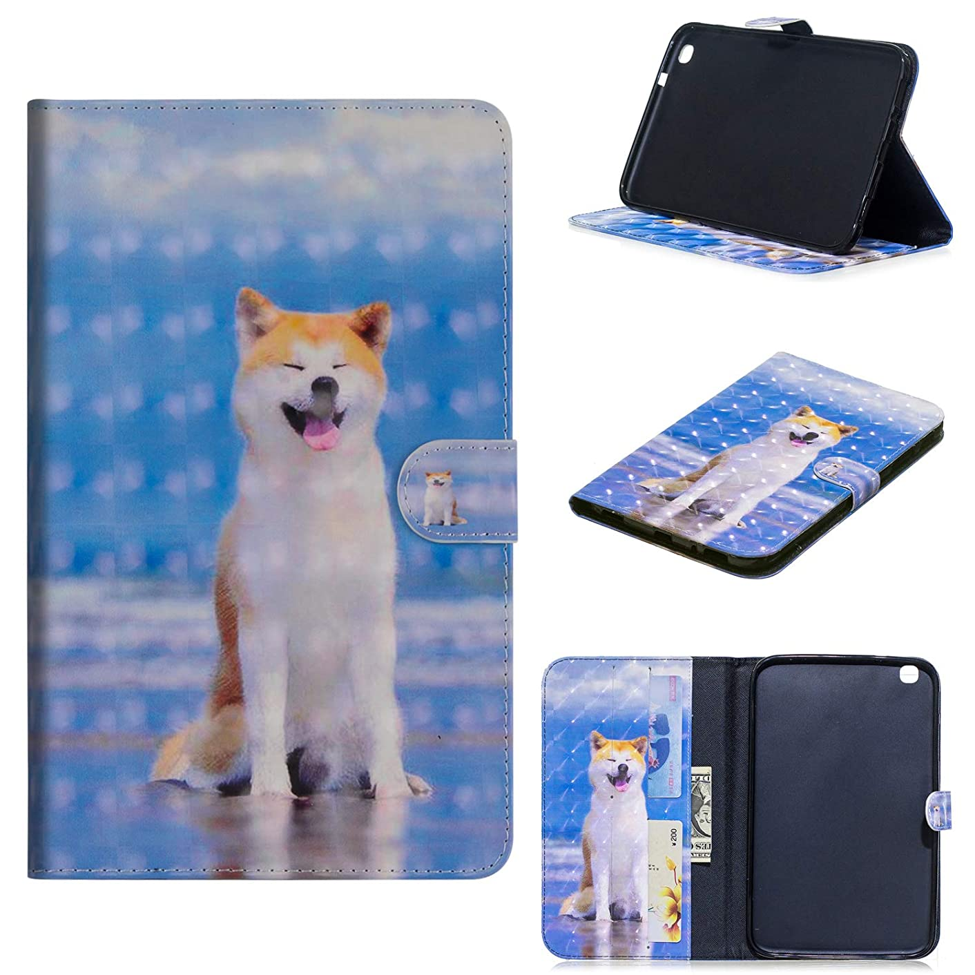 Galaxy Tab 3 8.0 PU Leather Case, CASE4YOU Flip Wallet Book Style Cover Stand Holder Card Slots Shockproof Bumper with Wake Up/Sleep Lovely Dog for Samsung Galaxy Tab 3 8 Inch SM-T310/T311/T315
