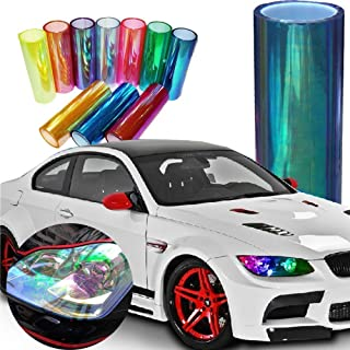 LED LIGHT 12 by 48 inches Self Adhesive Shiny Chameleon Headlights Tail Lights Fog Lights Films,Film Sheet Sticker,Tint Vinyl Film (12 X 48 Bright Light Blue)