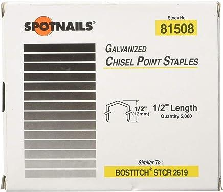 "like Bostitch STCR2619 81508 5M Spotnails 1//2/"" Galvanized Chisel Point Staples"