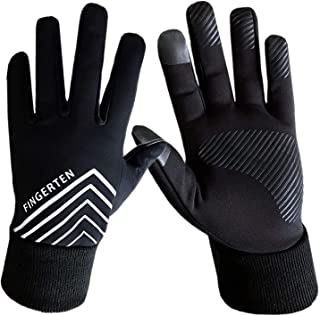 Men and Women 3M Winter Warm Sport Run Gloves Black Fleece Windproof Touchscreen Grip in Pair with Free Earband Set