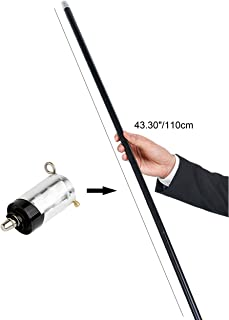 Kingmagic 110cm Black Metal Appearing Cane Stage Magic Trick Magician Gimmick Magic Illusion Silk to Wand with Video Tutorial