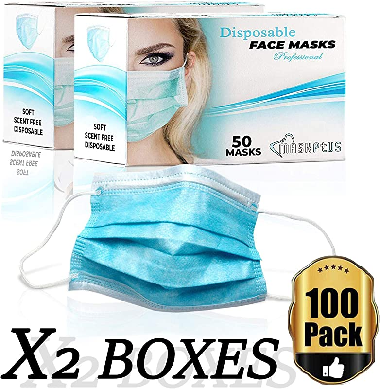 Disposable Face Masks Medical Surgical Dental Earloop Mouth Shield Masks Prevents Allergies And The Flu Antiviral Dust Protection Filter Hypoallergenic Comfortable Great For Outdoors